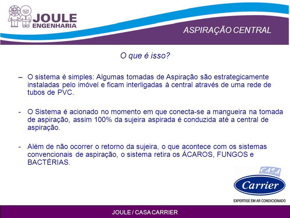 ASPIRAÇÃO CENTRAL JOULE / CASA CARRIER –O sistema é simples: Algumas tomadas de Aspiração são estrategicamente instaladas pelo imóvel e ficam interligadas à central através de uma rede de tubos de PVC.