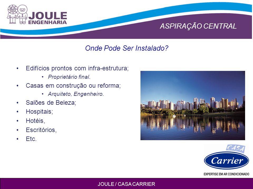 ASPIRAÇÃO CENTRAL JOULE / CASA CARRIER Onde Pode Ser Instalado.