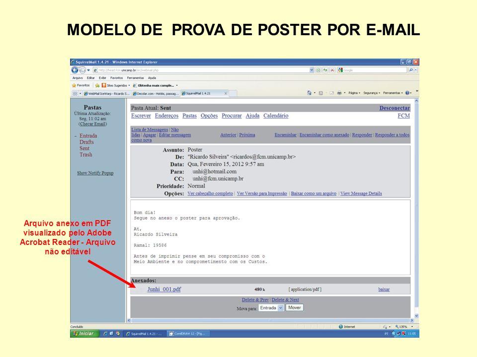 MODELO DE PROVA DE POSTER POR E-MAIL Arquivo anexo em PDF visualizado pelo Adobe Acrobat Reader - Arquivo não editável