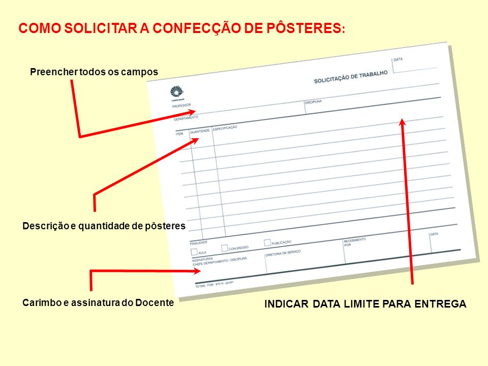 COMO SOLICITAR A CONFECÇÃO DE PÔSTERES : Preencher todos os campos INDICAR DATA LIMITE PARA ENTREGA Carimbo e assinatura do Docente Descrição e quantidade de pôsteres