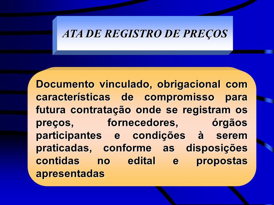 ATA DE REGISTRO DE PREÇOS Documento vinculado, obrigacional com características de compromisso para futura contratação onde se registram os preços, fo