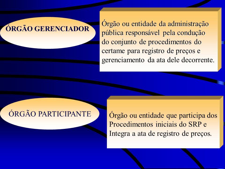 ÓRGÃO GERENCIADOR ÓRGÃO PARTICIPANTE Órgão ou entidade da administração pública responsável pela condução do conjunto de procedimentos do certame para
