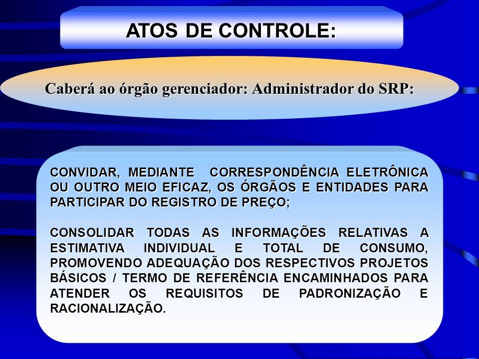 ATOS DE CONTROLE: CONVIDAR, MEDIANTE CORRESPONDÊNCIA ELETRÔNICA OU OUTRO MEIO EFICAZ, OS ÓRGÃOS E ENTIDADES PARA PARTICIPAR DO REGISTRO DE PREÇO; CONS