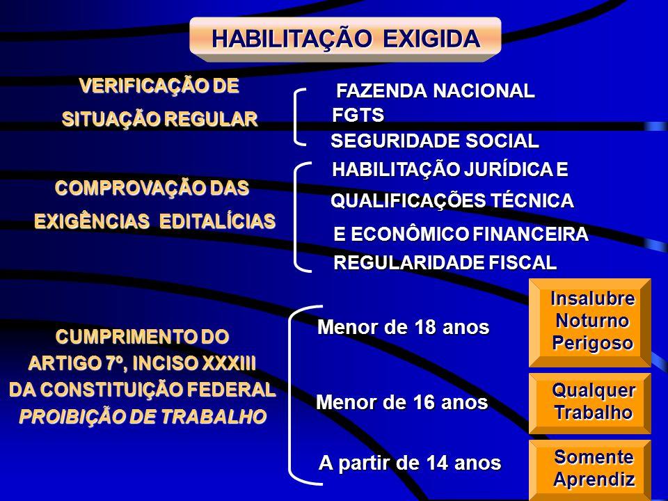 COMPROVAÇÃO DAS EXIGÊNCIAS EDITALÍCIAS VERIFICAÇÃO DE SITUAÇÃO REGULAR SEGURIDADE SOCIAL FAZENDA NACIONAL FGTS CUMPRIMENTO DO ARTIGO 7º, INCISO XXXIII