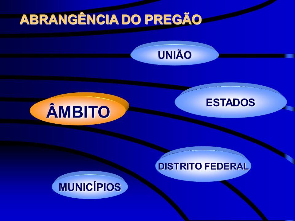 ESTADOS ÂMBITO DISTRITO FEDERAL MUNICÍPIOS UNIÃO ABRANGÊNCIA DO PREGÃO ABRANGÊNCIA DO PREGÃO
