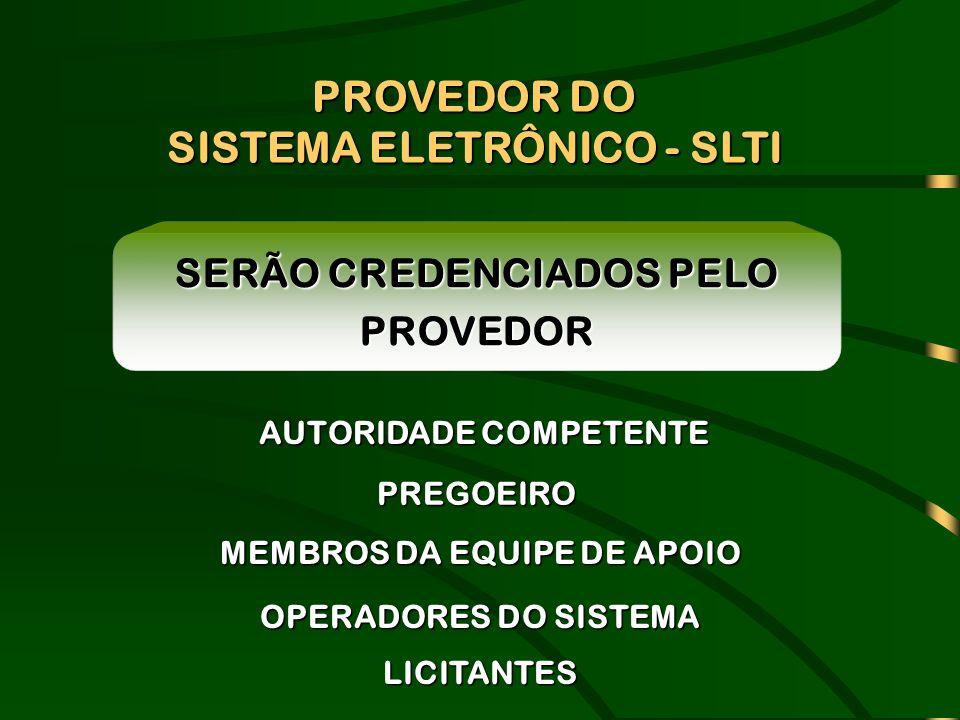SERÃO CREDENCIADOS PELO PROVEDOR AUTORIDADE COMPETENTE PREGOEIRO MEMBROS DA EQUIPE DE APOIO OPERADORES DO SISTEMA LICITANTES PROVEDOR DO SISTEMA ELETR