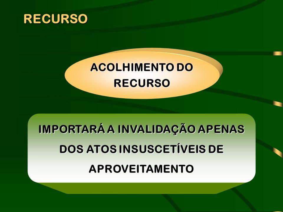 RECURSO IMPORTARÁ A INVALIDAÇÃO APENAS DOS ATOS INSUSCETÍVEIS DE APROVEITAMENTO ACOLHIMENTO DO RECURSO