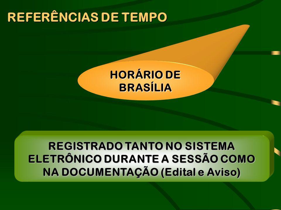 REFERÊNCIAS DE TEMPO HORÁRIO DE BRASÍLIA REGISTRADO TANTO NO SISTEMA ELETRÔNICO DURANTE A SESSÃO COMO NA DOCUMENTAÇÃO (Edital e Aviso)