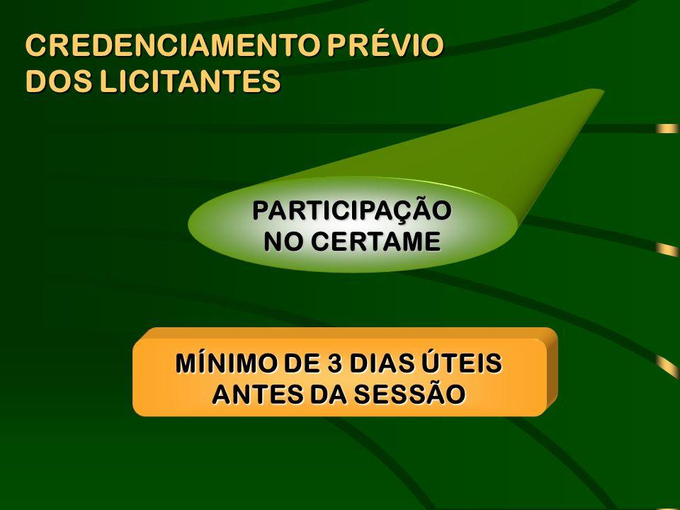 CREDENCIAMENTO PRÉVIO DOS LICITANTES PARTICIPAÇÃO NO CERTAME MÍNIMO DE 3 DIAS ÚTEIS ANTES DA SESSÃO