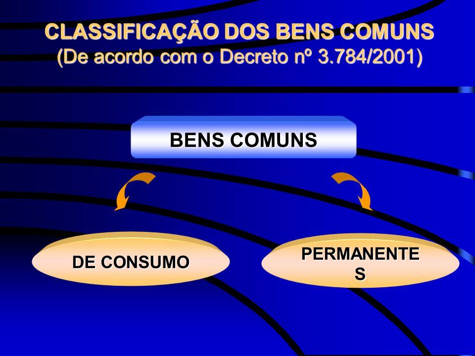 CLASSIFICAÇÃO DOS BENS COMUNS (De acordo com o Decreto nº 3.784/2001) BENS COMUNS DE CONSUMO PERMANENTE S