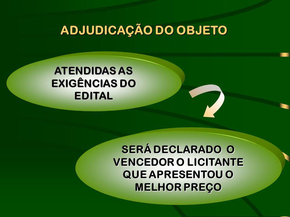 ADJUDICAÇÃO DO OBJETO ATENDIDAS AS EXIGÊNCIAS DO EDITAL SERÁ DECLARADO O VENCEDOR O LICITANTE QUE APRESENTOU O MELHOR PREÇO