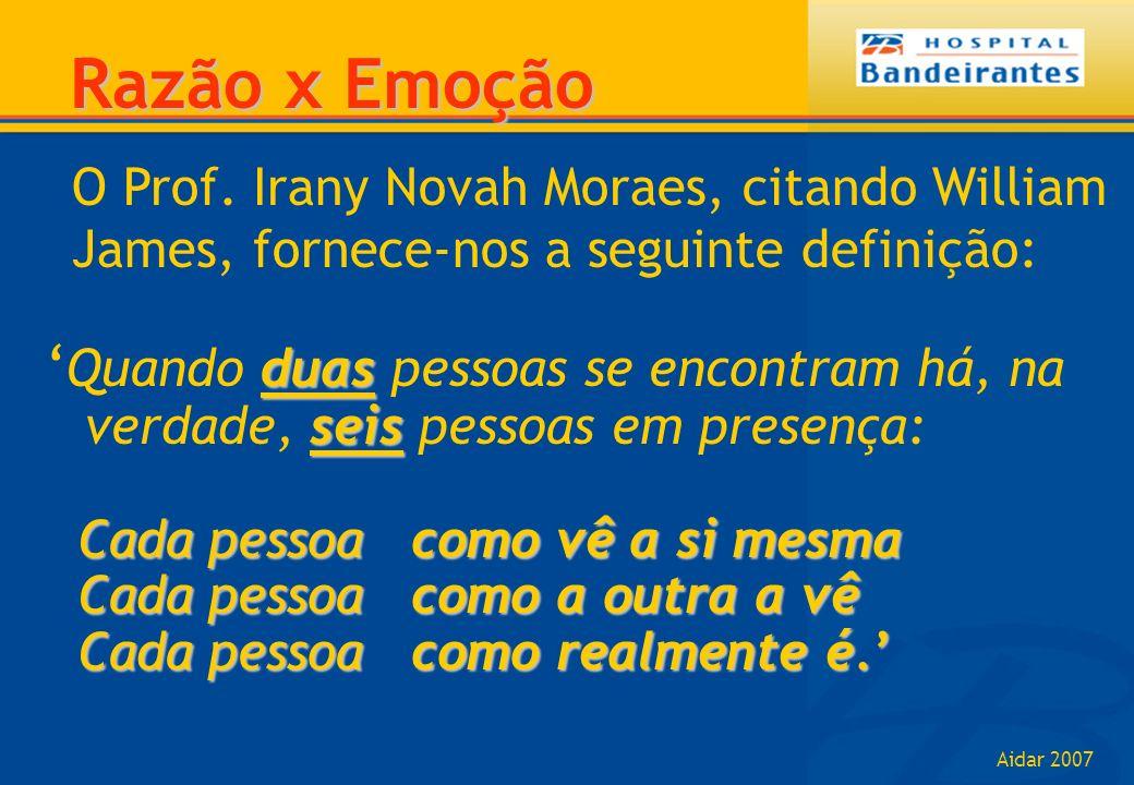 Aidar 2007 O Prof. Irany Novah Moraes, citando William James, fornece-nos a seguinte definição: Razão x Emoção duas seis Quando duas pessoas se encont