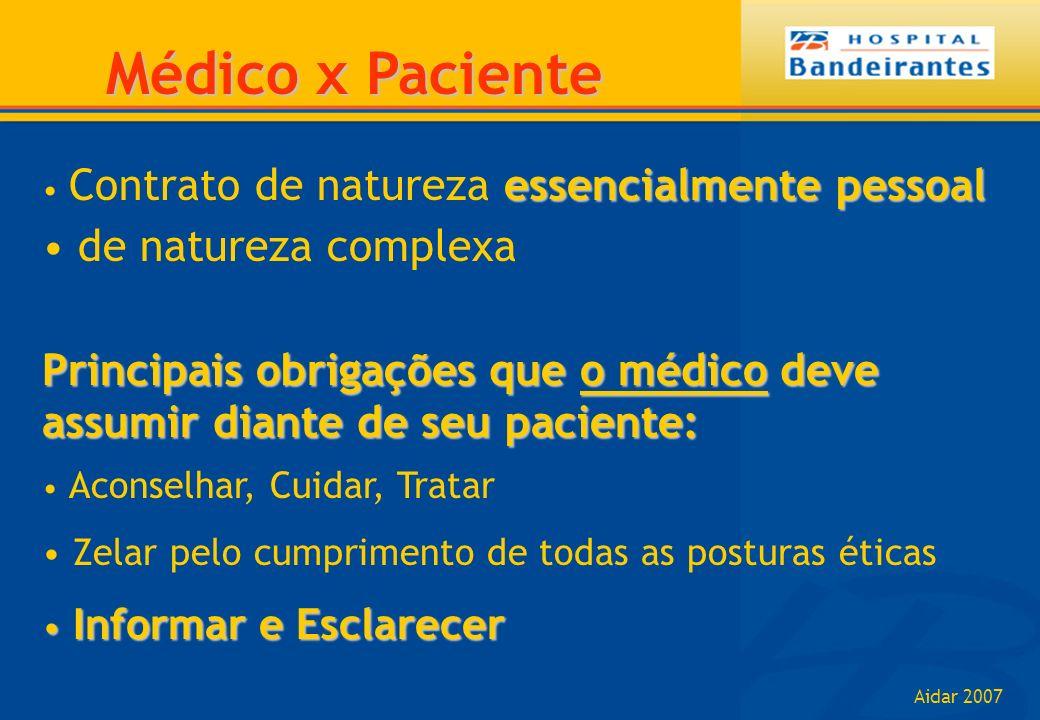 Aidar 2007 Médico x Paciente essencialmente pessoal Contrato de natureza essencialmente pessoal de natureza complexa Principais obrigações que o médic