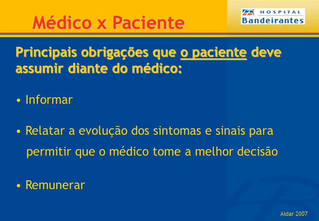 Aidar 2007 Principais obrigações que o paciente deve assumir diante do médico: Informar Relatar a evolução dos sintomas e sinais para permitir que o m