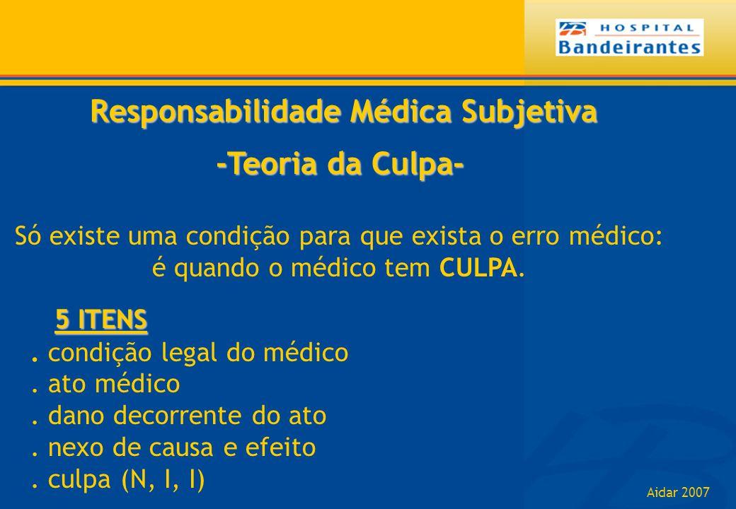Aidar 2007 Responsabilidade Médica Subjetiva Responsabilidade Médica Subjetiva -Teoria da Culpa- Só existe uma condição para que exista o erro médico: