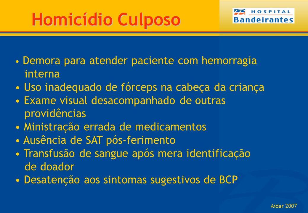 Aidar 2007 Demora para atender paciente com hemorragia interna Uso inadequado de fórceps na cabeça da criança Exame visual desacompanhado de outras pr