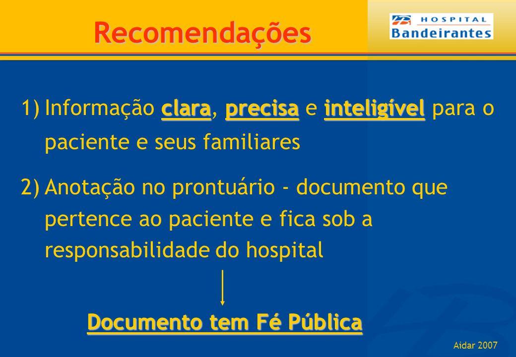 Aidar 2007 Recomendações claraprecisainteligível 1)Informação clara, precisa e inteligível para o paciente e seus familiares 2)Anotação no prontuário