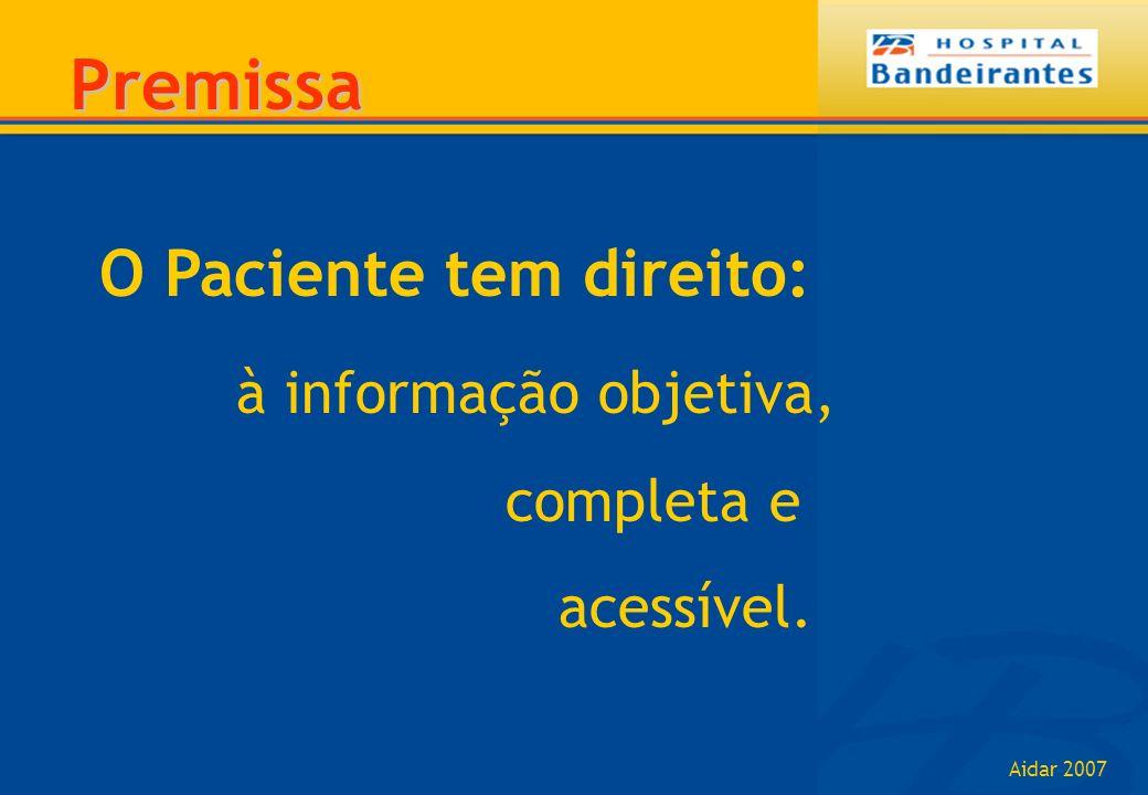 Aidar 2007 O Paciente tem direito: à informação objetiva, completa e acessível. Premissa