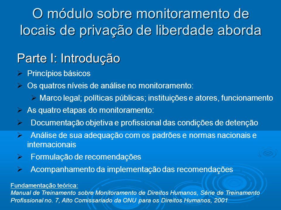 O módulo sobre monitoramento de locais de privação de liberdade aborda Parte I: Introdução Princípios básicos Os quatros níveis de análise no monitora