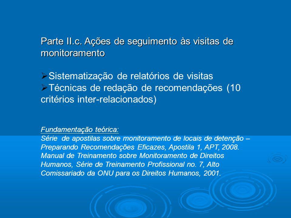 Parte II.c. Ações de seguimento às visitas de monitoramento Sistematização de relatórios de visitas Técnicas de redação de recomendações (10 critérios