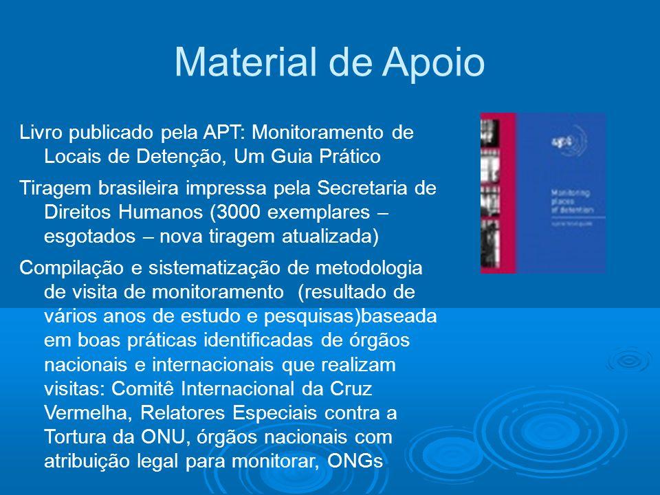 Material de Apoio Livro publicado pela APT: Monitoramento de Locais de Detenção, Um Guia Prático Tiragem brasileira impressa pela Secretaria de Direit