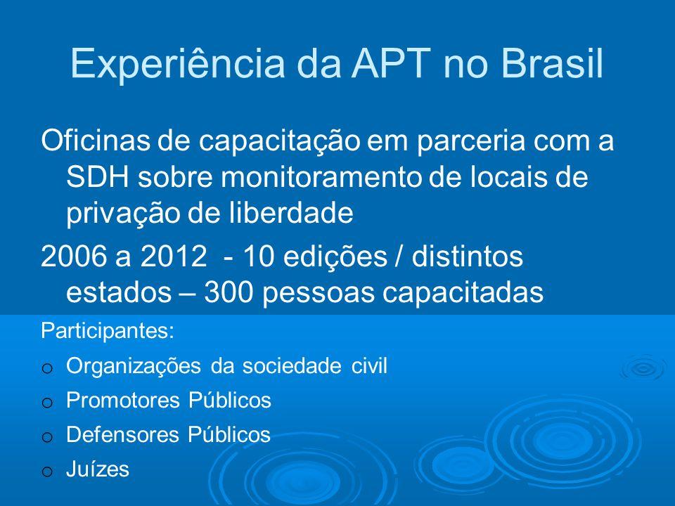 Experiência da APT no Brasil Oficinas de capacitação em parceria com a SDH sobre monitoramento de locais de privação de liberdade 2006 a 2012 - 10 edi