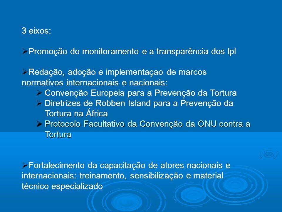 3 eixos: Promoção do monitoramento e a transparência dos lpl Redação, adoção e implementaçao de marcos normativos internacionais e nacionais: Convençã