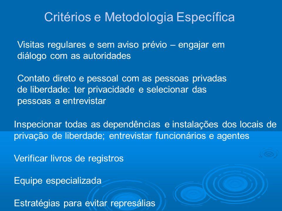 Critérios e Metodologia Específica Visitas regulares e sem aviso prévio – engajar em diálogo com as autoridades Contato direto e pessoal com as pessoa