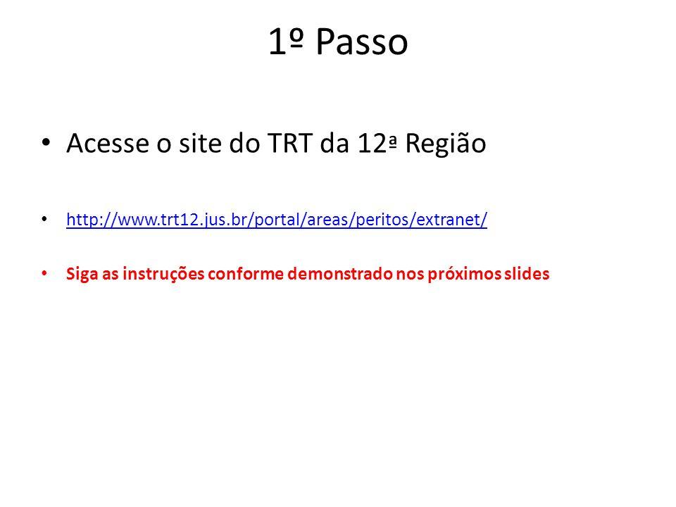 1º Passo Acesse o site do TRT da 12 ª Região http://www.trt12.jus.br/portal/areas/peritos/extranet/ Siga as instruções conforme demonstrado nos próxim