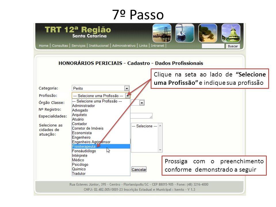 7º Passo Clique na seta ao lado de Selecione uma Profissão e indique sua profissão Prossiga com o preenchimento conforme demonstrado a seguir