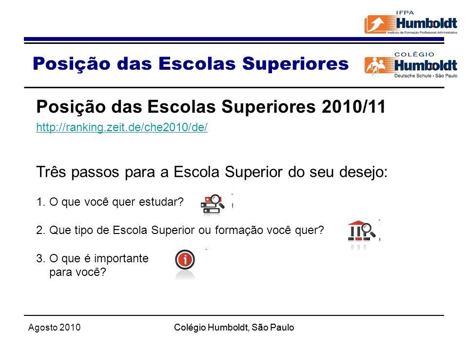 Agosto 2010Colégio Humboldt, São Paulo Posição das Escolas Superiores Posição das Escolas Superiores 2010/11 http://ranking.zeit.de/che2010/de/ Três p