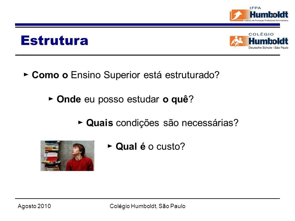 Agosto 2010Colégio Humboldt, São Paulo Estrutura Como o Ensino Superior está estruturado? Onde eu posso estudar o quê? Quais condições são necessárias