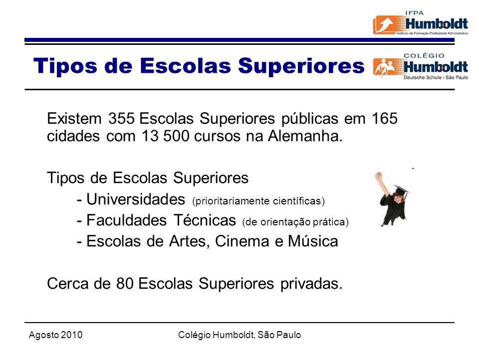 Agosto 2010Colégio Humboldt, São Paulo Existem 355 Escolas Superiores públicas em 165 cidades com 13 500 cursos na Alemanha. Tipos de Escolas Superior