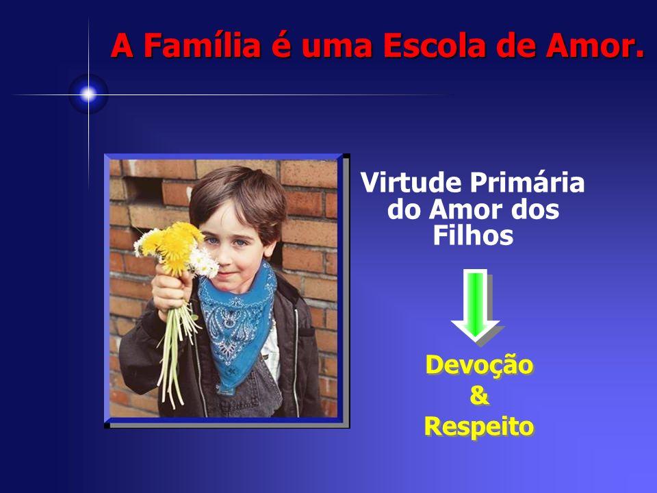 Virtude Primária do Amor dos Filhos Devoção & Respeito Devoção & Respeito A Família é uma Escola de Amor.