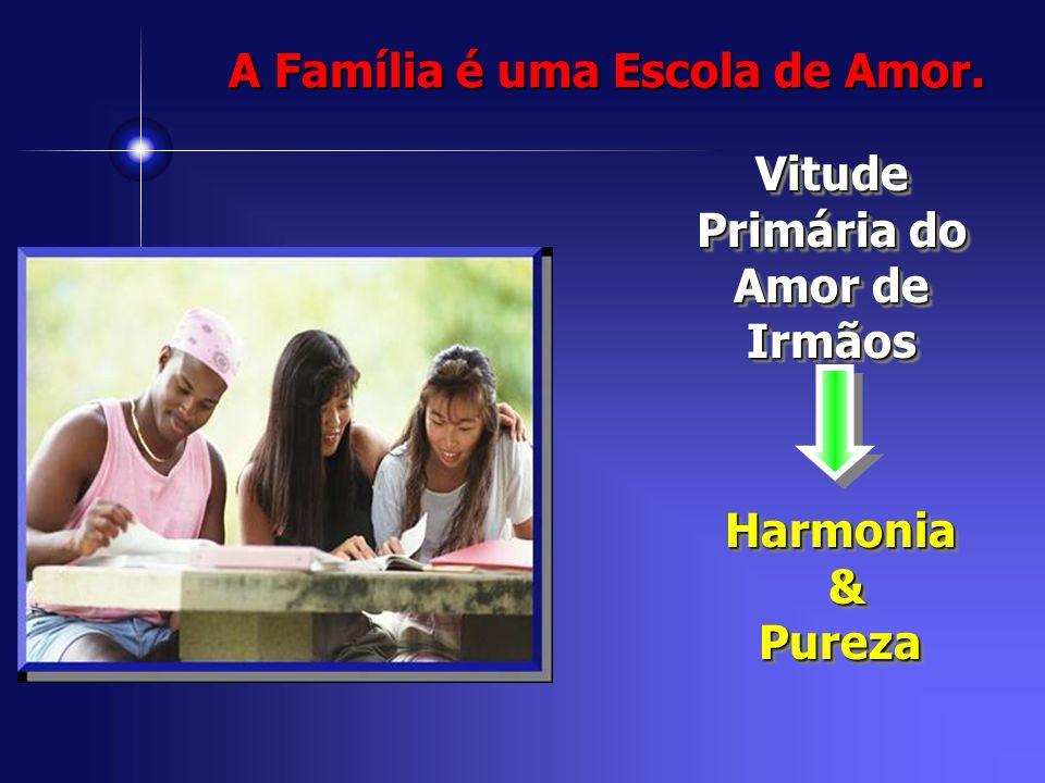Vitude Primária do Amor de Irmãos Harmonia &PurezaHarmonia &Pureza A Família é uma Escola de Amor.