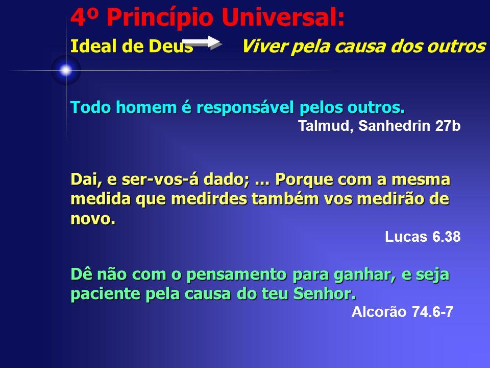 4º Princípio Universal: Ideal de Deus Viver pela causa dos outros Todo homem é responsável pelos outros. Talmud, Sanhedrin 27b Dai, e ser-vos-á dado;.