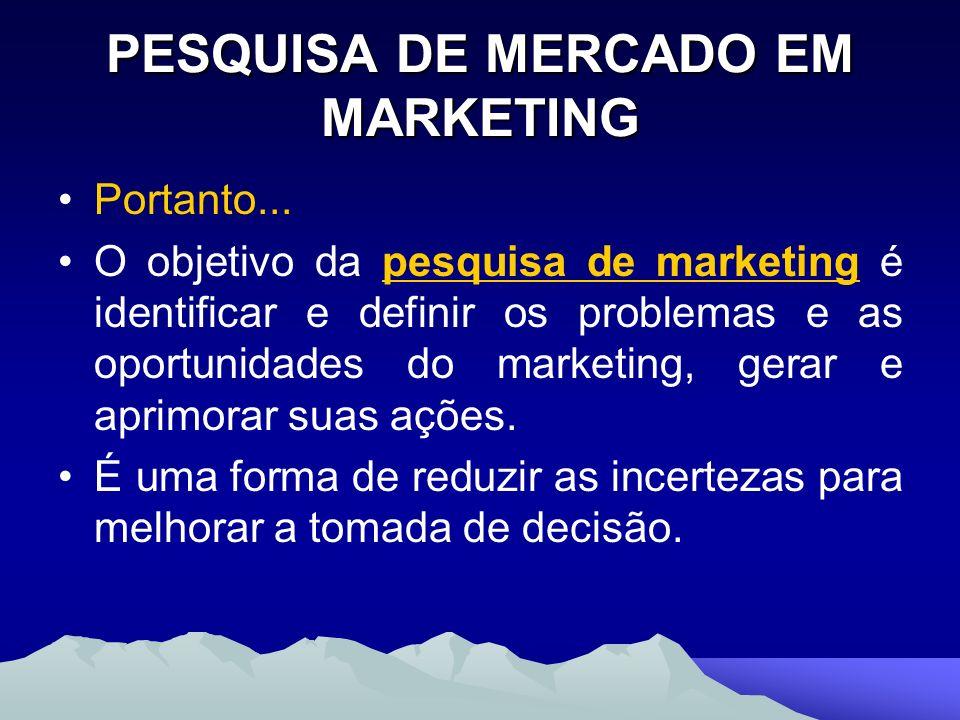 PESQUISA DE MERCADO EM MARKETING Portanto... O objetivo da pesquisa de marketing é identificar e definir os problemas e as oportunidades do marketing,