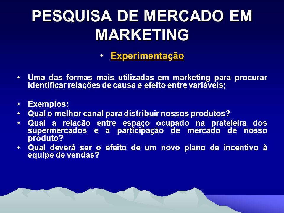 PESQUISA DE MERCADO EM MARKETING Experimentação Uma das formas mais utilizadas em marketing para procurar identificar relações de causa e efeito entre