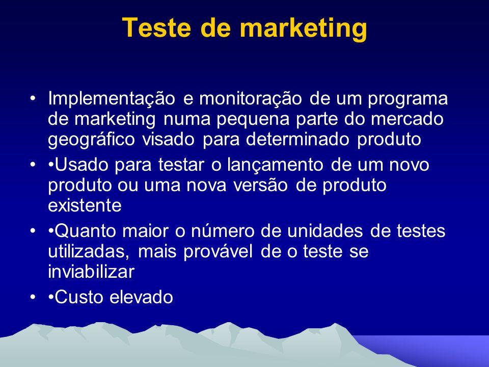 Teste de marketing Implementação e monitoração de um programa de marketing numa pequena parte do mercado geográfico visado para determinado produto Us