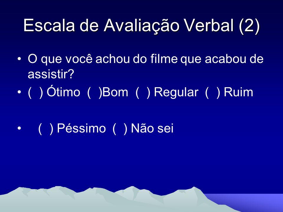 Escala de Avaliação Verbal (2) O que você achou do filme que acabou de assistir? ( ) Ótimo ( )Bom ( ) Regular ( ) Ruim ( ) Péssimo ( ) Não sei