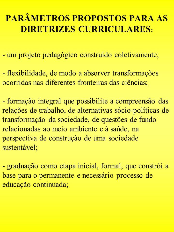 PARÂMETROS PROPOSTOS PARA AS DIRETRIZES CURRICULARES : - um projeto pedagógico construído coletivamente; - flexibilidade, de modo a absorver transform
