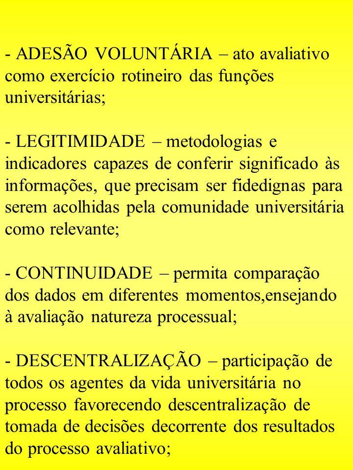 - ADESÃO VOLUNTÁRIA – ato avaliativo como exercício rotineiro das funções universitárias; - LEGITIMIDADE – metodologias e indicadores capazes de confe