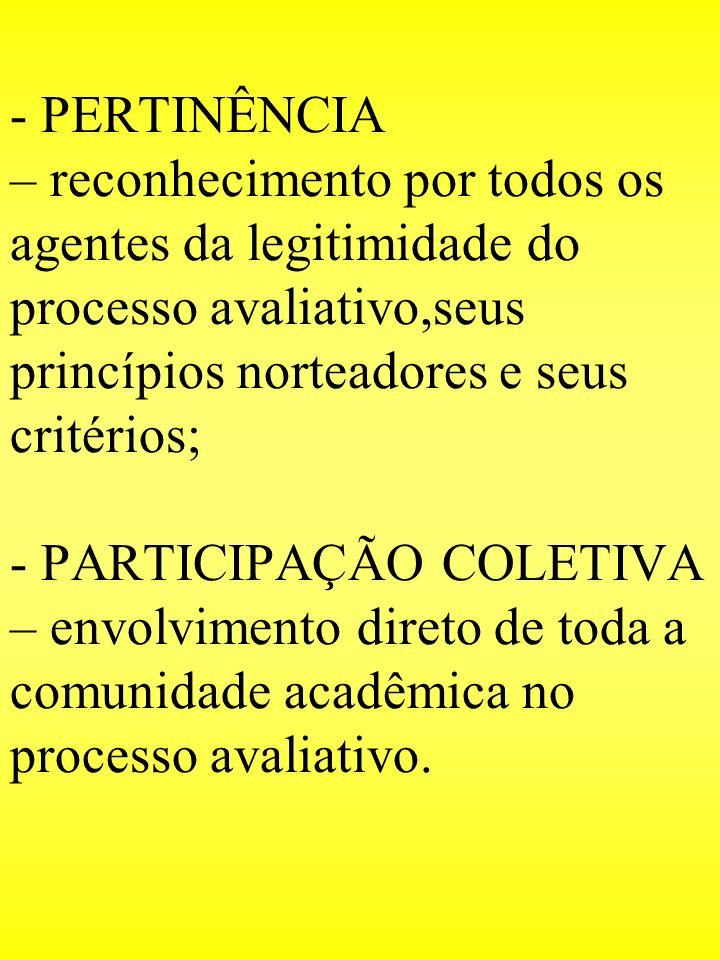 - PERTINÊNCIA – reconhecimento por todos os agentes da legitimidade do processo avaliativo,seus princípios norteadores e seus critérios; - PARTICIPAÇÃ