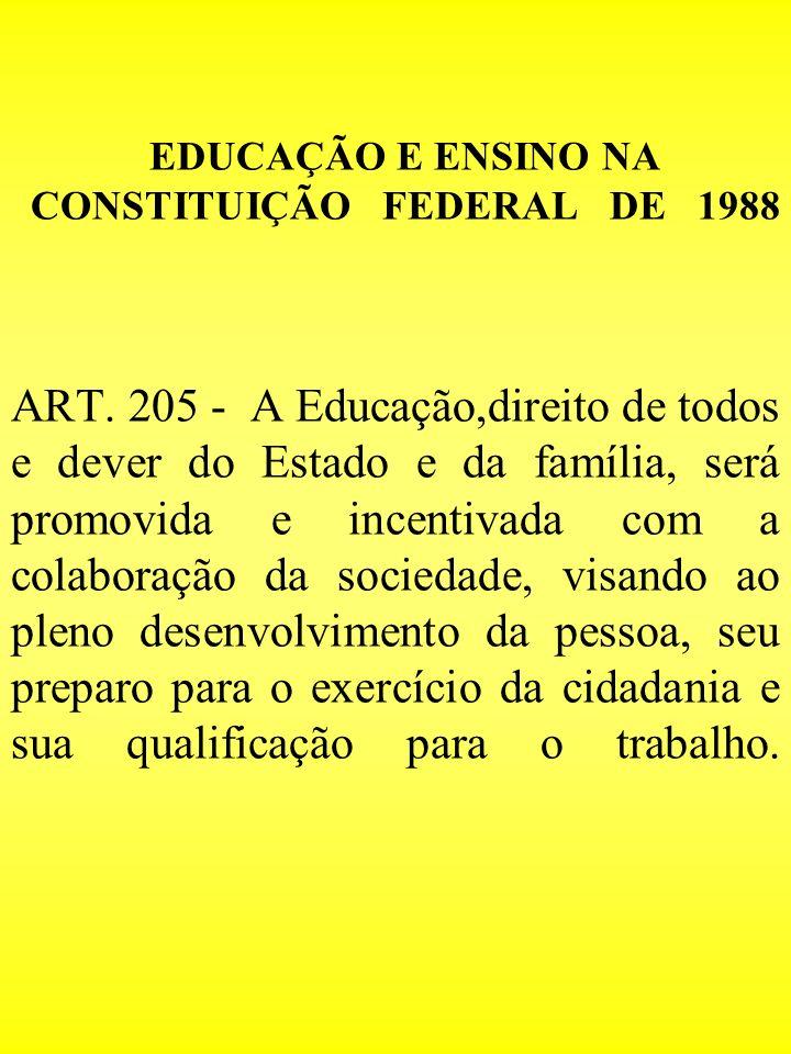 EDUCAÇÃO E ENSINO NA CONSTITUIÇÃO FEDERAL DE 1988 ART. 205 - A Educação,direito de todos e dever do Estado e da família, será promovida e incentivada