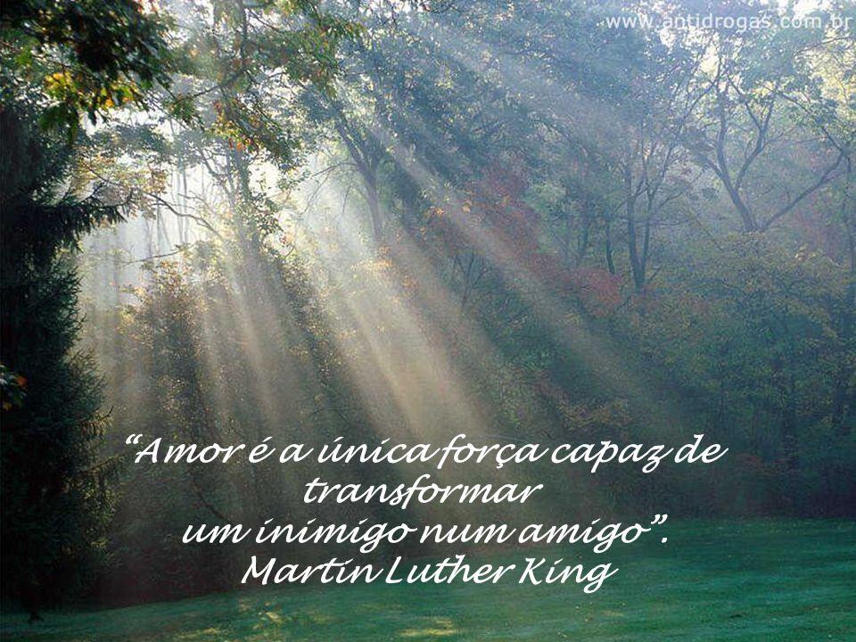 Amor é a única força capaz de transformar um inimigo num amigo. Martin Luther King