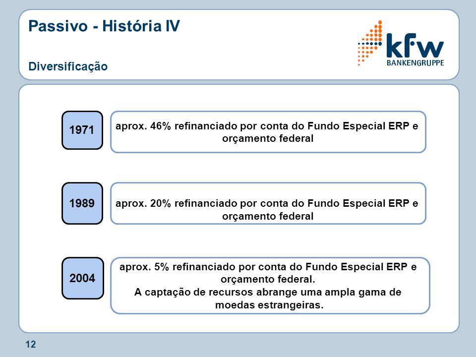 12 Passivo - História IV Diversificação 1971 1989 2004 aprox. 46% refinanciado por conta do Fundo Especial ERP e orçamento federal aprox. 20% refinanc