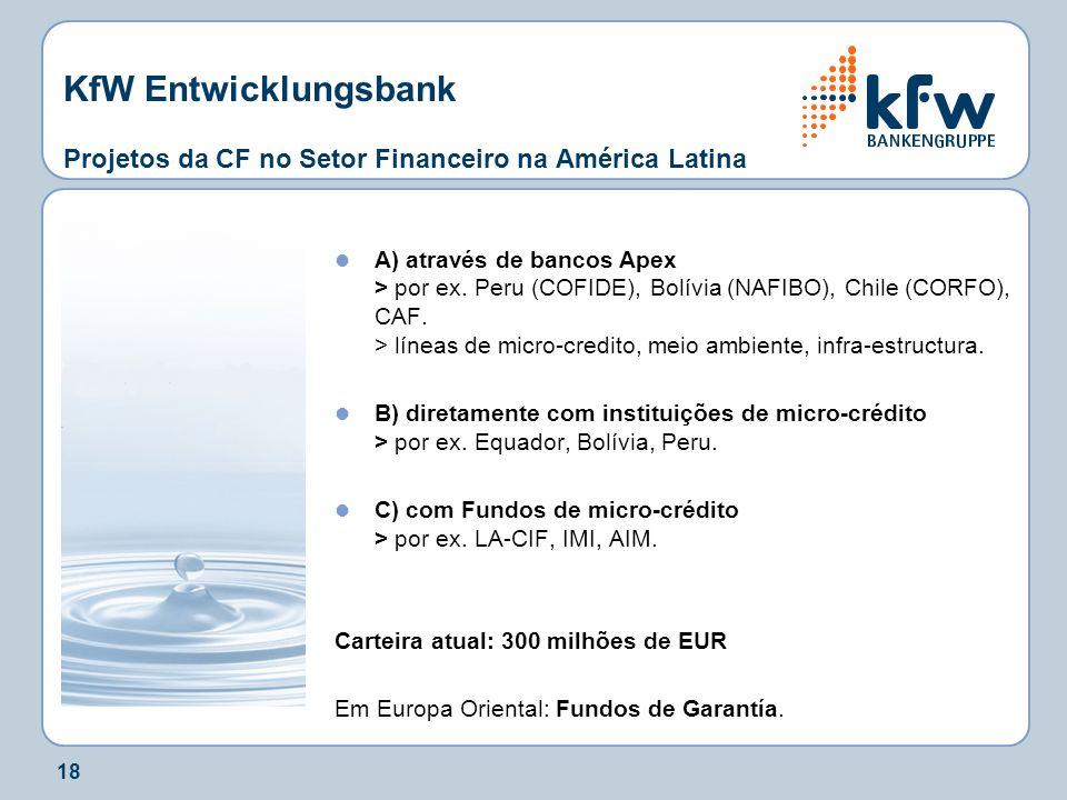 18 KfW Entwicklungsbank Projetos da CF no Setor Financeiro na América Latina A) através de bancos Apex > por ex. Peru (COFIDE), Bolívia (NAFIBO), Chil