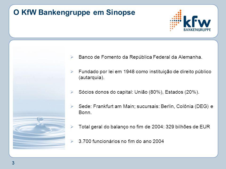 3 O KfW Bankengruppe em Sinopse Banco de Fomento da República Federal da Alemanha. Fundado por lei em 1948 como instituição de direito público (autarq