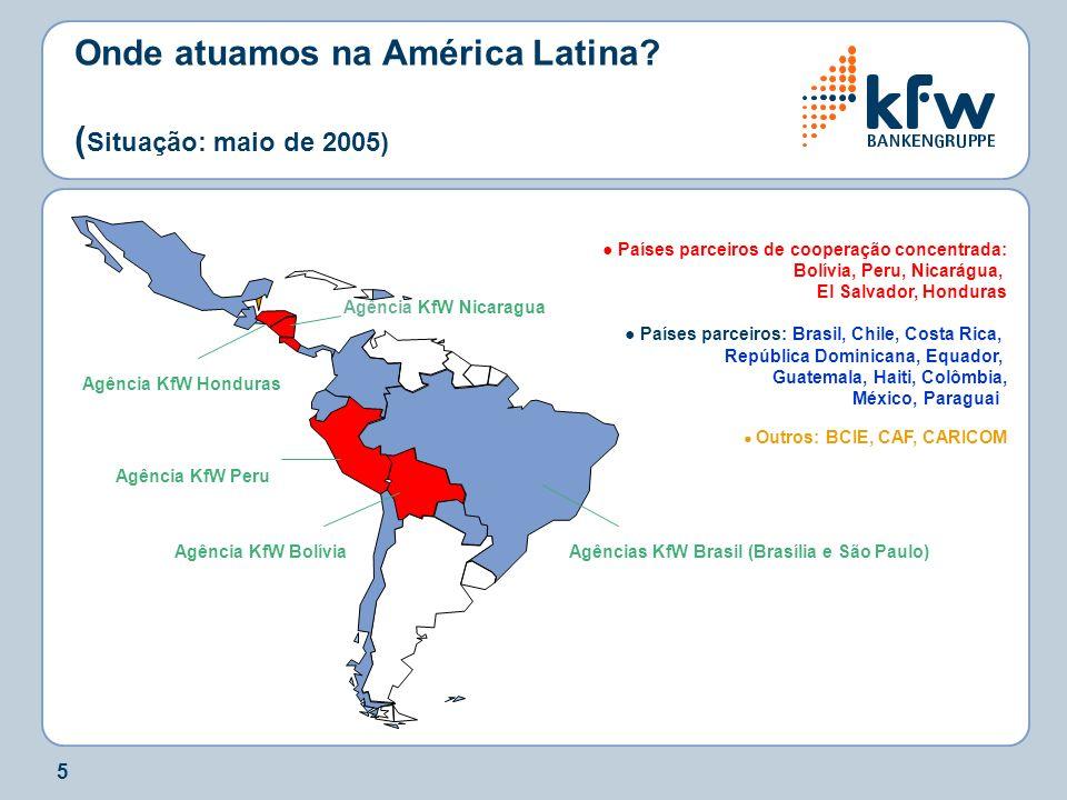 5 Onde atuamos na América Latina? ( Situação: maio de 2005) Países parceiros de cooperação concentrada: Bolívia, Peru, Nicarágua, El Salvador, Hondura