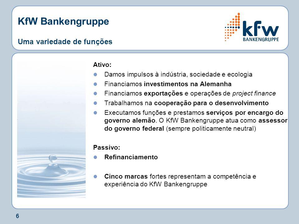 6 KfW Bankengruppe Uma variedade de funções Ativo: Damos impulsos à indústria, sociedade e ecologia Financiamos investimentos na Alemanha Financiamos